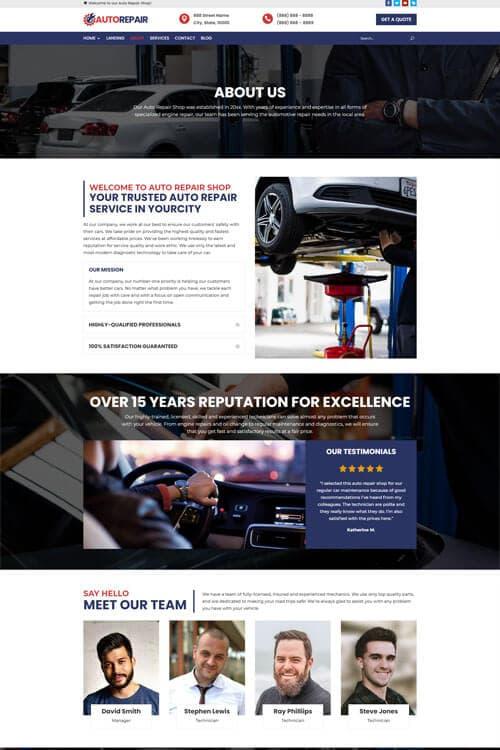 Auto Repair Web Design