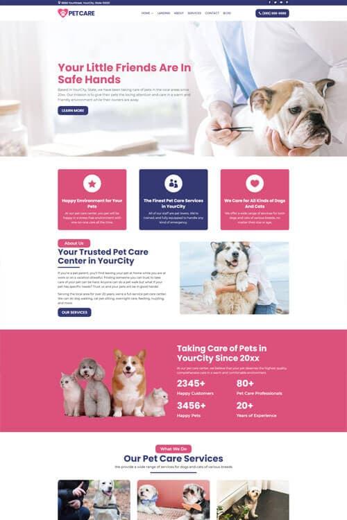 Pet Care Web Design